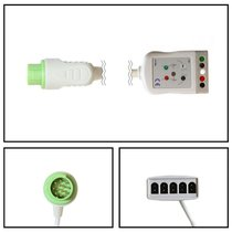 Fukuda 12 Pin to 5 Lead Dual ECG Trunk Cable (Green Connector) - NEFK2052