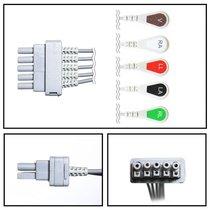 GE Datex-Ohmeda 5 Lead Dual ECG Leadwires (Individual) - Snap - NLDX5252-S