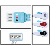 Philips 3 Lead Single Pin Disposable ECG Leadwire - Snap - NLPH3132-X