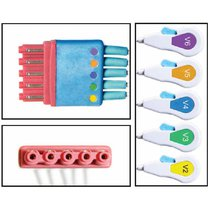 Philips ECG Leadwires Disposable 5 Lead Chest Snap Clip 3' Cable 10 Guaranteed - NLPH5152-XC