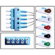 Philips ECG Lead Wires Disposable 5 Lead Dual Pin Shielded Snap Clip 10 Pack New - NLPH5252-X