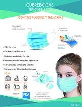 Cubrebocas termosellado tricapa plisado FDA / COFEPRIS