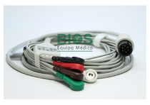 Cable ECG Universal Compatible 6 Pins, 5-Leads, Snap, AHA.