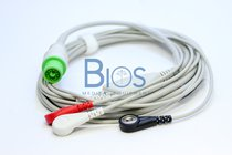 Cable ECG Fukuda 12 Pins, 3-Leads, Snap, AHA Generico
