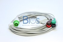 Cable ECG Fukuda Generico, 12 Pins, 5-Leads, Snap, AHA