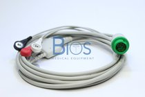Cable ECG Mindray Generico T5, 12 Pins, 3-Leads, Snap, AHA