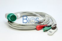 Cable ECG Nihon Kohden Generico, 11 Pins, 5 Leads, Snap, AHA